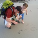 Matthew and I watching a starfish march towards the water. I did not know they could do this.