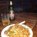A lovely dish of gong chau nau hor and a cold Tsing Tao thanks to Ah Kwan. Paradise found.