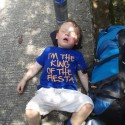 Matthew was the king of the fiesta, before he fell asleep on the trail home