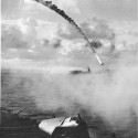 A Japanese plane is shot down during the Battle of Saipan in 1944.