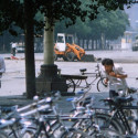 "A different angle taken of ""Tank Man,"" the man who stood against a line of tanks in Tiananmen Square ."